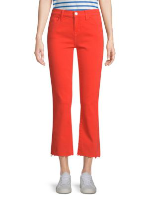 Joie The Kick Raw-hem Cropped Jeans In Red