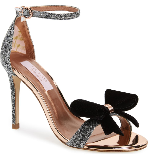 d22a3a6e695 A signature bow and crystal-encrusted buckle add picture-perfect finishing  touches to this lofty stiletto sandal. Style Name  Ted Baker London Bowdalo  ...
