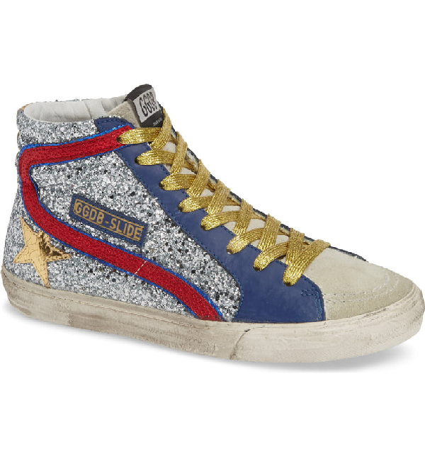 b1a0a1d57837 Golden Goose Slide High-Top Glitter Leather Trainers In Red And Silver