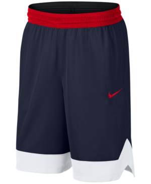 Nike Men's Dri-fit Colorblocked Basketball Shorts In Navy,red/wht