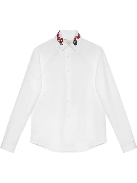 Gucci Kingsnake-Embroidered Cotton Poplin Shirt In White,No Color
