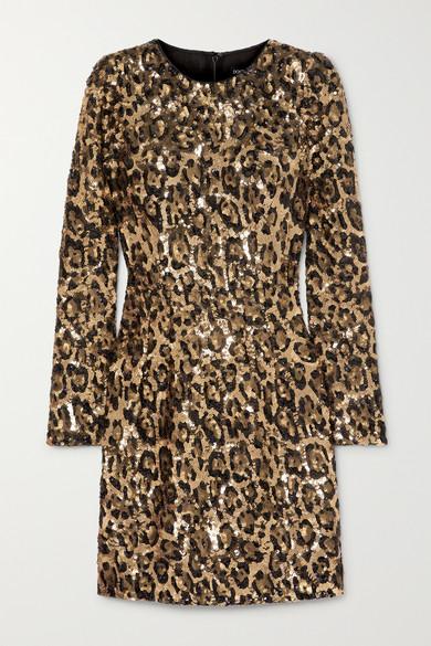Dolce & Gabbana Leopard-print Sequinned Crepe Mini Dress In Leopard Print