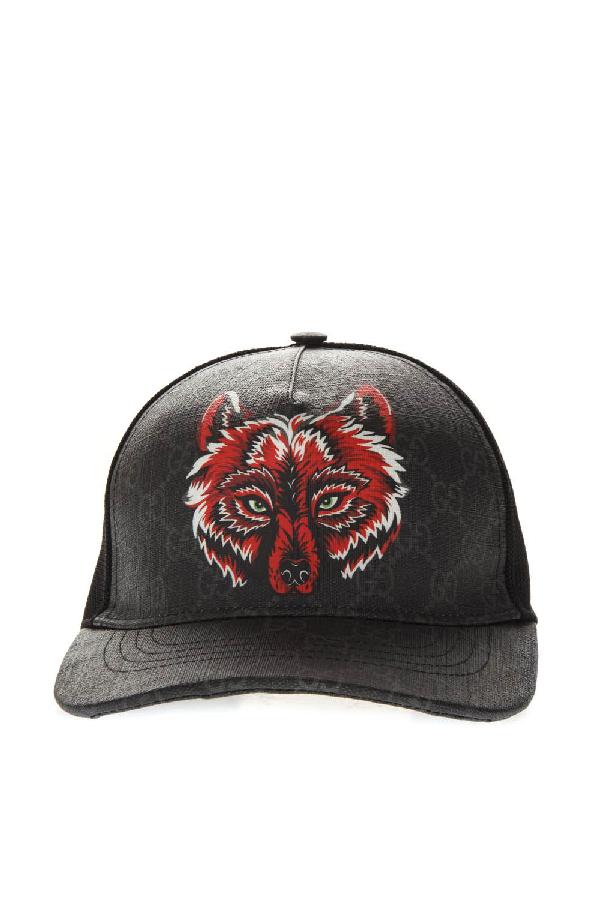 7dcd62642 Black Gg Supreme Baseball Hat With Wolf Print