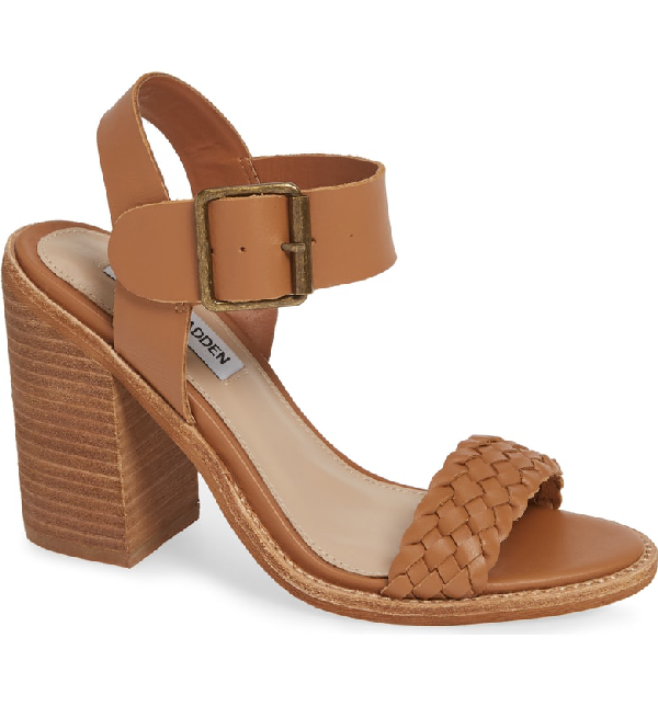 0aec61963476 A stacked heel adds leg-lengthening height to a stylish summer sandal with  a woven strap at the toe. Style Name  Steve Madden Cadence Sandal (Women).