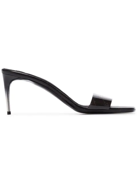Stella Mccartney Logo-Perforated Pu And Faux Leather Mules In Black