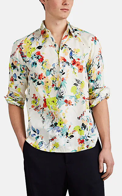 Barena Venezia Watercolor-Floral Cotton Voile Popover Shirt In White