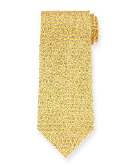 Salvatore Ferragamo Grey Gancio Silk Tie, Yellow
