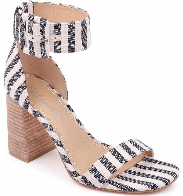 c924090123da5 Splendid Women's Siri Striped Chunky Heel Sandals In Navy/ Natural Fabric
