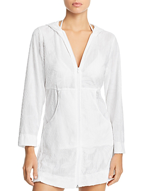 Anguila Full-Zip Hooded Tunic Swim Cover-Up in White