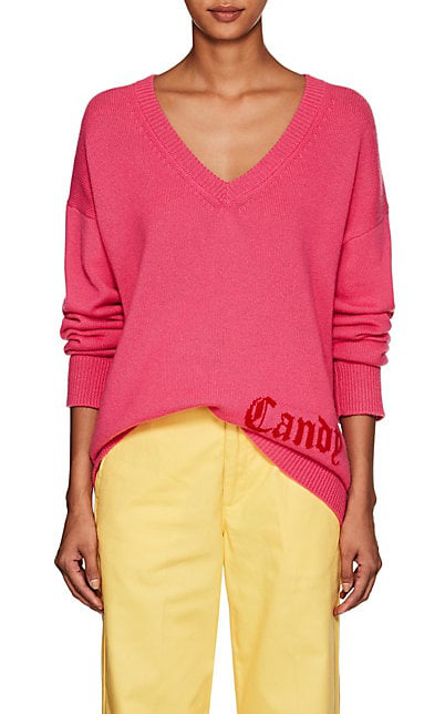 """Adaptation """"Candy"""" Cashmere Deep-V-Neck Sweater In Pink"""
