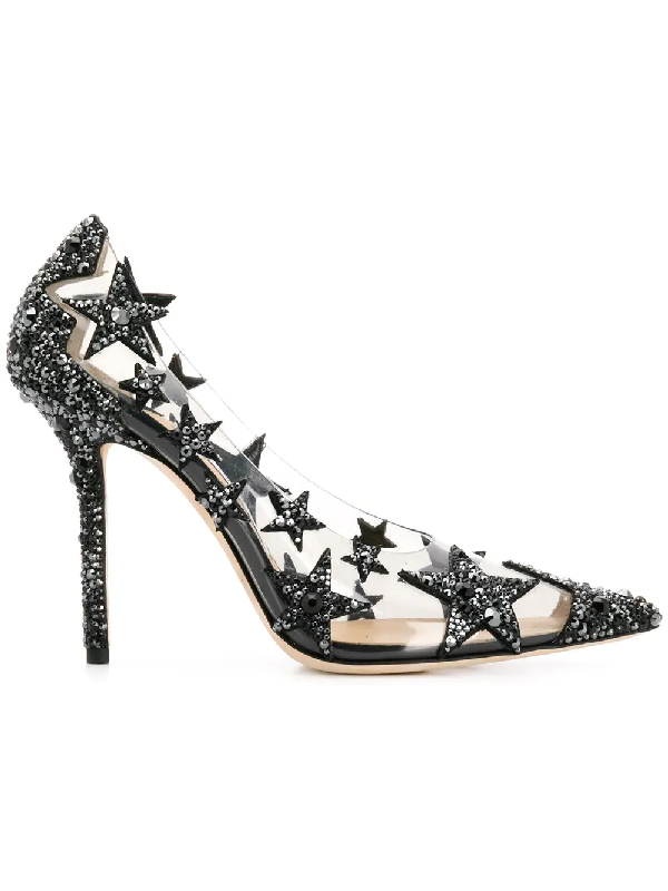 a126a58c6e Jimmy Choo Lisha 100 Black And Smoke Mix Plexi Star Patchwork Pointy Toe  Pumps With Crystals
