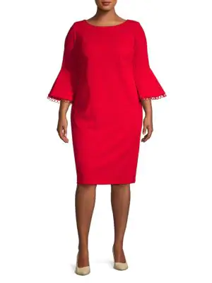 Calvin Klein Plus Bell-sleeve Sheath Dress In Red