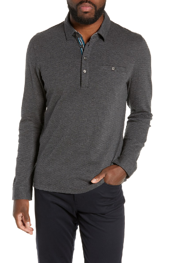 28dfbedad Ted Baker Fruitpa Slim Fit Long Sleeve Polo In Green | ModeSens