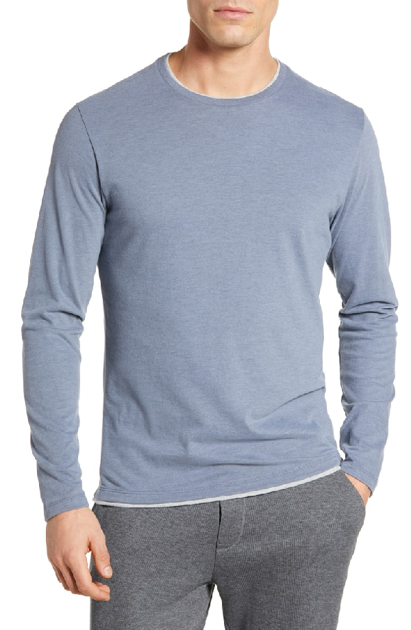 3062870db8fabc Robert Barakett Halifax Long Sleeve Crewneck T-Shirt In Dusty Blue ...