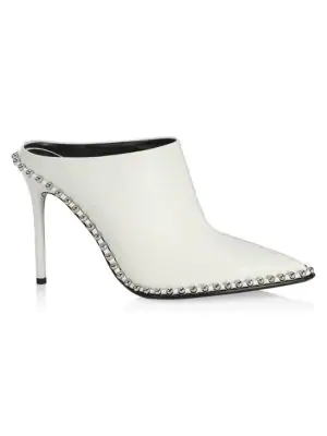 Alexander Wang Eri Studded Leather Mules In White