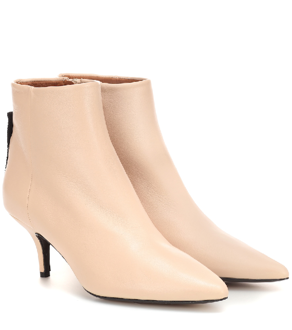 Joseph Leather Ankle Boots In Beige