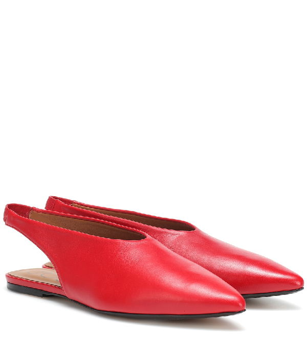 Joseph Leather Slippers In Red