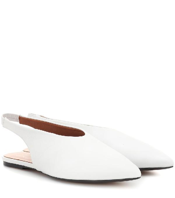 Joseph Leather Slingback Ballet Flats In White