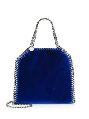 Stella Mccartney Mini Falabella Velvet Chain Tote In Blue