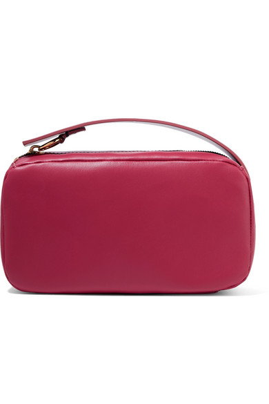 Marni Two-Tone Leather Clutch In Burgundy