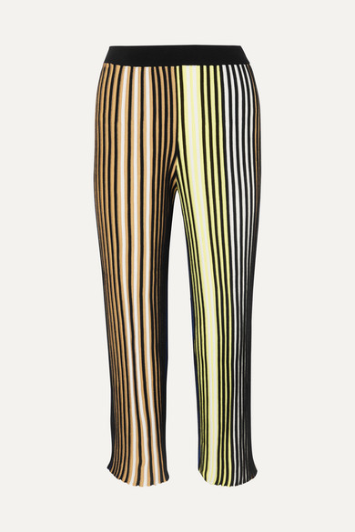 Kenzo Cropped Striped Ribbed-knit Flared Pants In Black