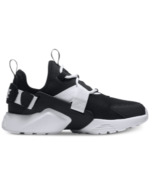 Nike Women's Air Huarache City Low Casual Sneakers From Finish Line In Black/black-white
