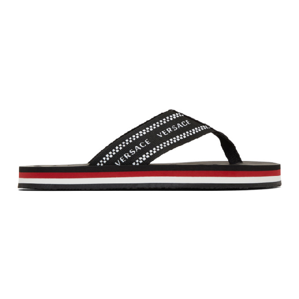 Versace Logo-Jacquard Webbing And Rubber Flip Flops In Dmcx Multic