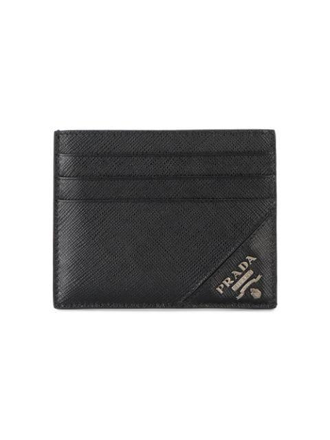 Prada Black Saffiano Triangle Card Holder In F0002-nero