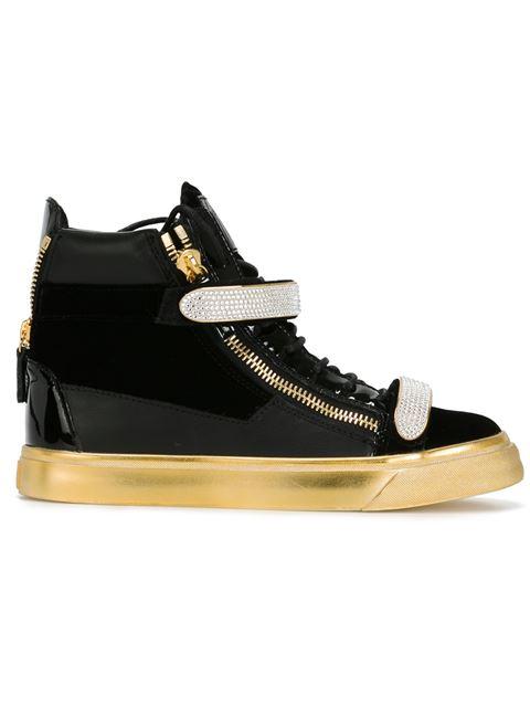 Giuseppe Zanotti Embellished Hi-Top Sneakers In Black