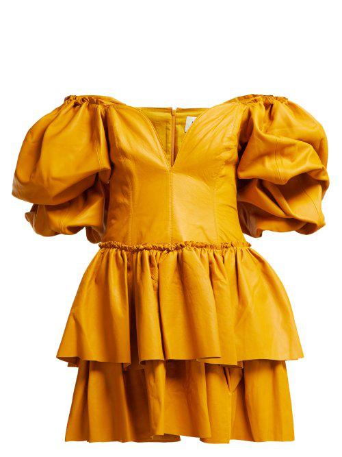 084da19d93 Select Size. Store Status Price. Aje Castellain Sweetheart-Neck Leather Mini  Dress In Dark Yellow