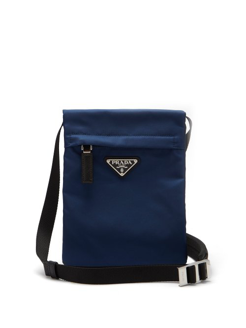 Prada Nylon Cross Body Bag In Navy
