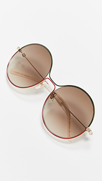 Gucci Eyewear Round Shaped Sunglasses In Gold/brown