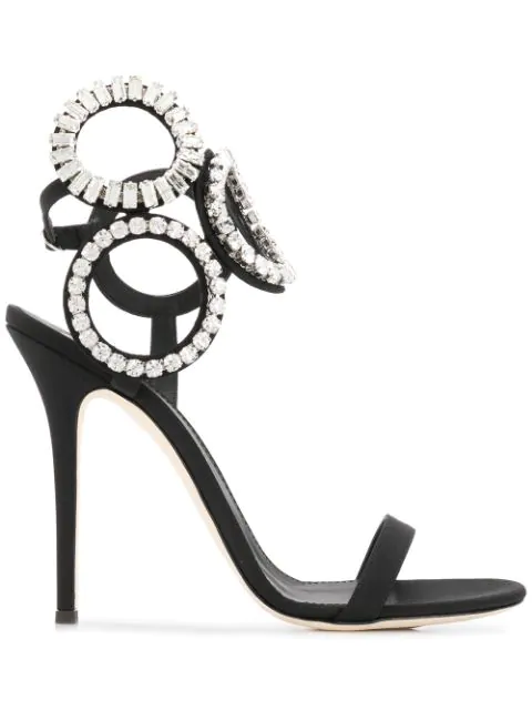 Giuseppe Zanotti Suede High Sandal With Crystals In Black