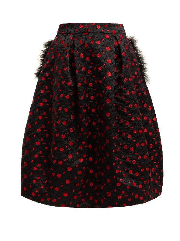 Simone Rocha Floral-Embroidered Satin Midi Skirt In Black