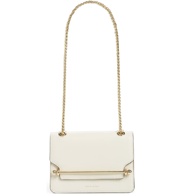 Strathberry Mini East/west Leather Crossbody Bag In Vanilla