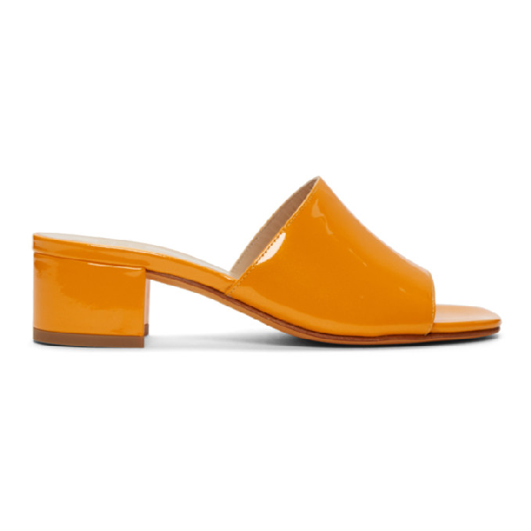 bfa89609e402 Maryam Nassir Zadeh Yellow Patent Sophie Slide Sandals In 125 Mango ...