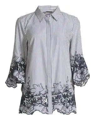 43c6d149800e Elie Tahari Clark Embroidered Striped Shirt In Navy White | ModeSens