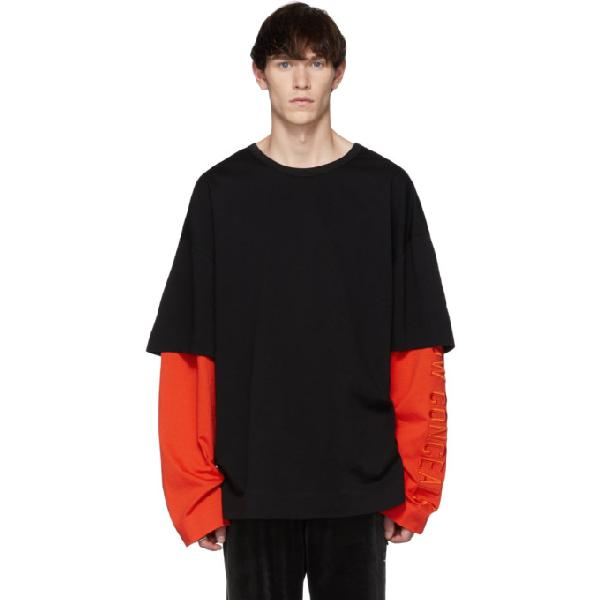 Juun.j Ssense Exclusive Black And Orange Layered Long Sleeve T-shirt In Black/orang