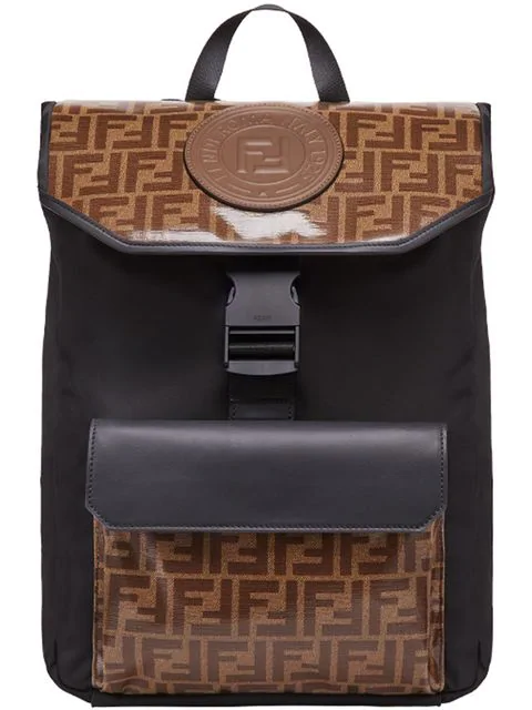 1fa59c84 Fendi Ff Vetrificato Contrast Print Backpack In Black | ModeSens