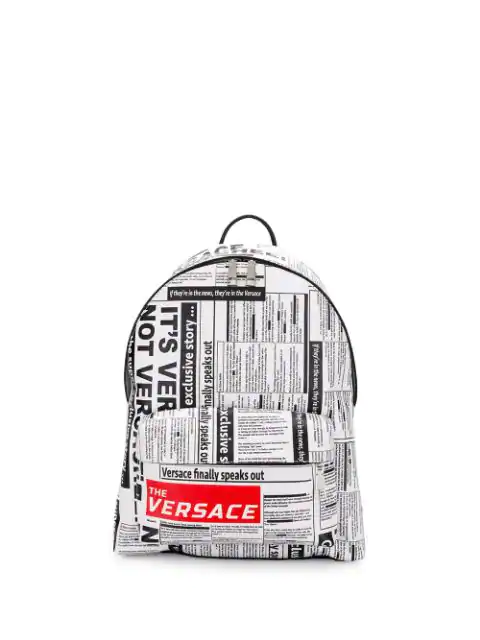 Versace Tabloid Print Saffiano Leather Backpack In White