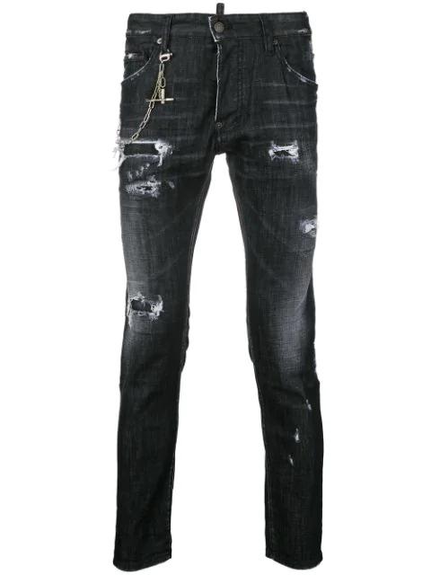 Dsquared2 16Cm Skater Cotton Denim Jeans W/ Zip In Black