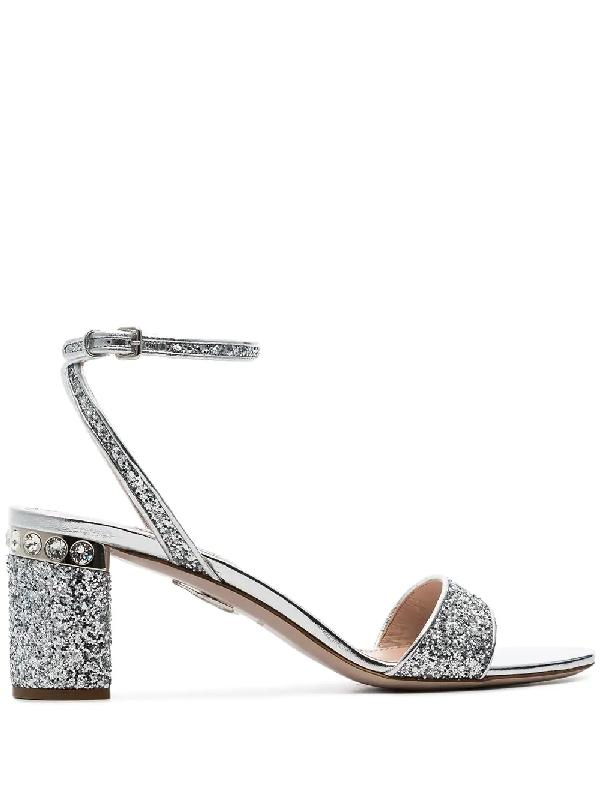 94aaac4bf6 Miu Miu Glitter Crystal-Embellished Block-Heel Sandals In Silver ...