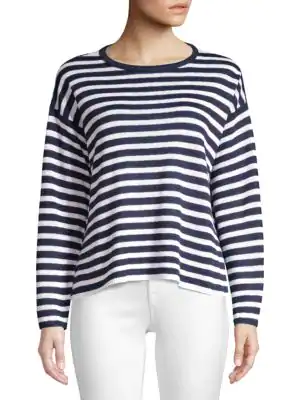 Eileen Fisher Plus Size Striped Organic Linen Knit Sweater In Indigo