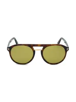 Tom Ford Ivan 54mm Round Aviator Sunglasses In Shiny Red