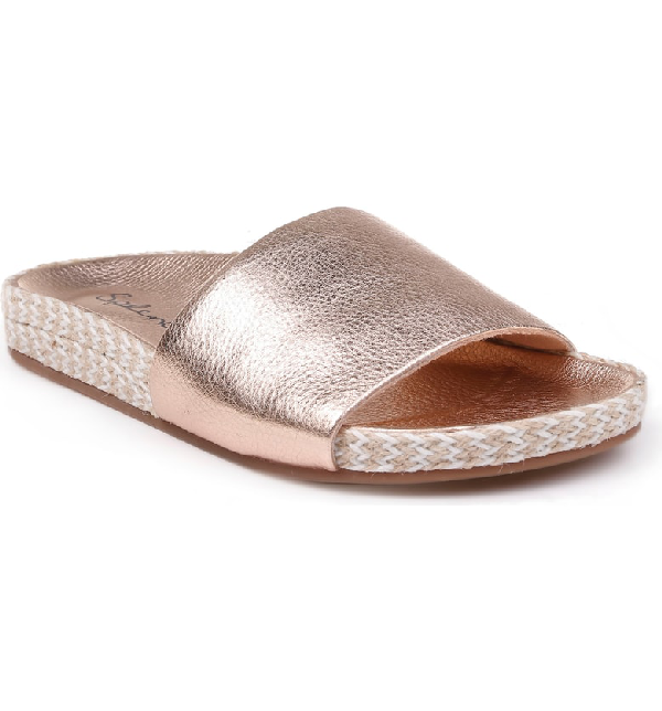 9d048de4183a Splendid Women s Sanford Metallic Slide Sandals In Rose Gold Leather ...