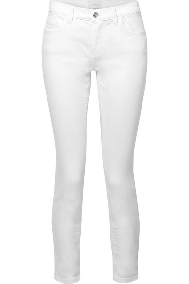 a9384314f47c0 Current Elliott The Stiletto Mid-Rise Skinny Jeans In White | ModeSens