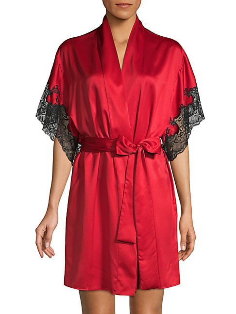 Natori Lace-trim Satin Robe In Red