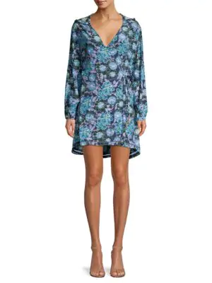 Paloma Blue Farah Hooded Floral Wrap Dress In Lotus Blue