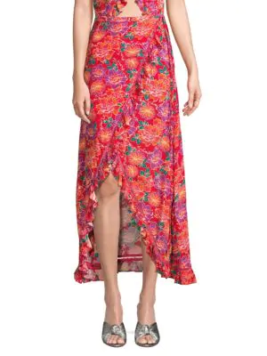 Paloma Blue Stevie Ruffled Floral-print Crepe De Chine Wrap Maxi Skirt In Red