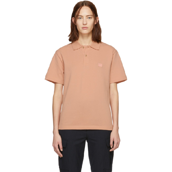 Acne Studios Pink Patch Polo In Pale Pink